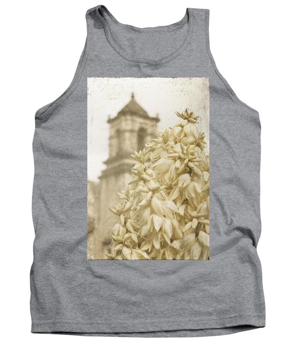 Mission San Jose Tank Top featuring the photograph Mission San Jose And Blooming Yucca by Renee Hong