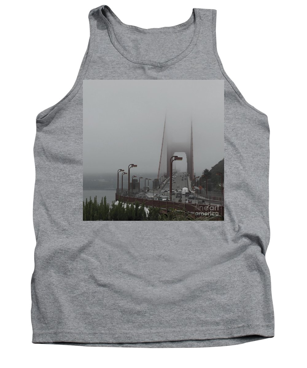 Golden Gate Bridge Tank Top featuring the photograph Golden Gate In The Clouds by Mini Arora