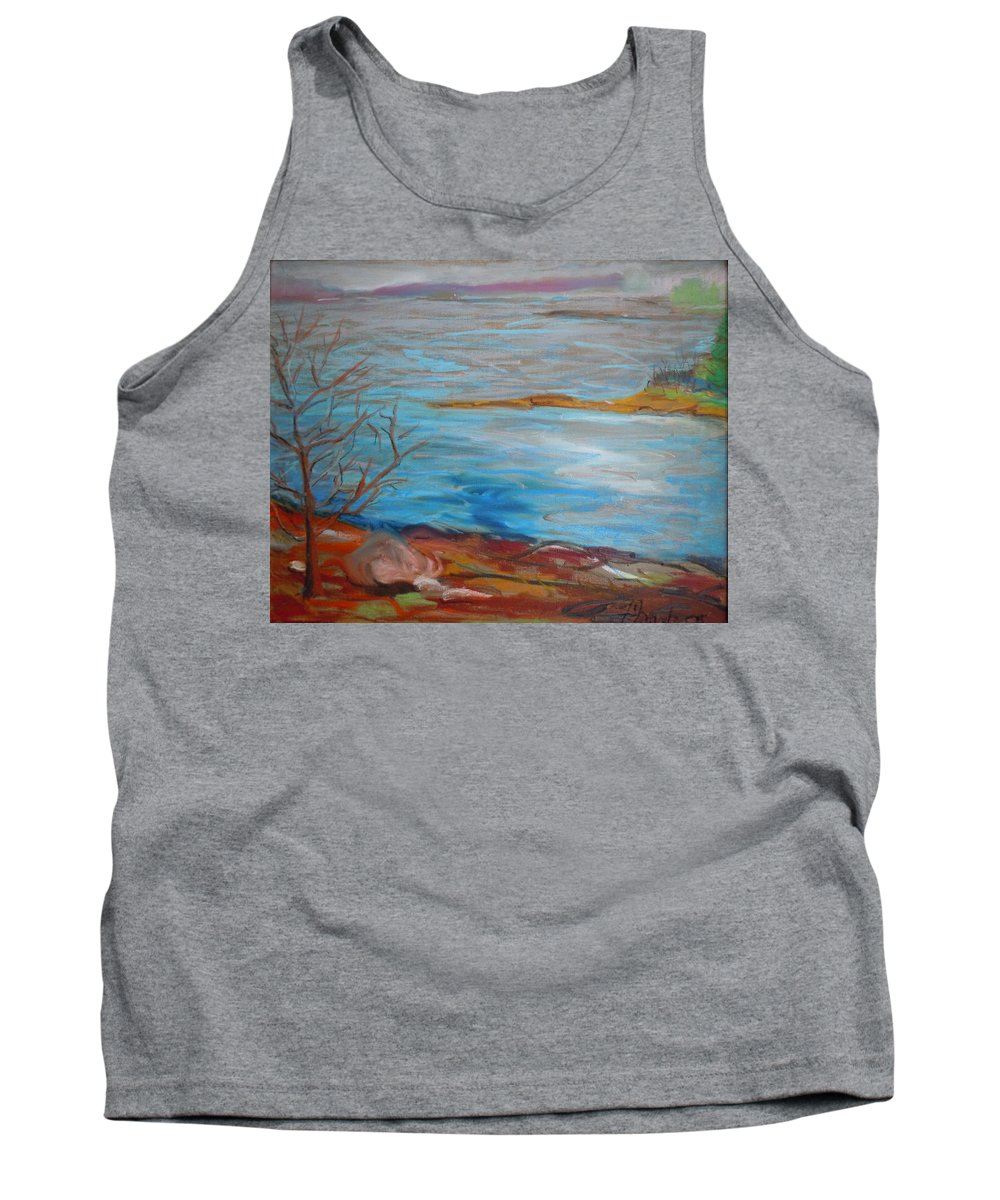 Landscape Tank Top featuring the painting Misty Surry by Francine Frank