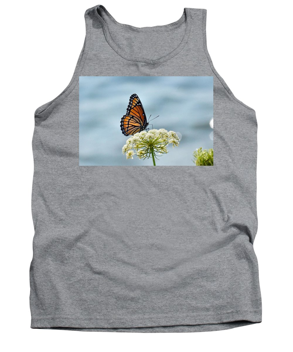 Monarch Butterfly On River Tank Top featuring the photograph Monarch Butterfly On River by J R Sanders