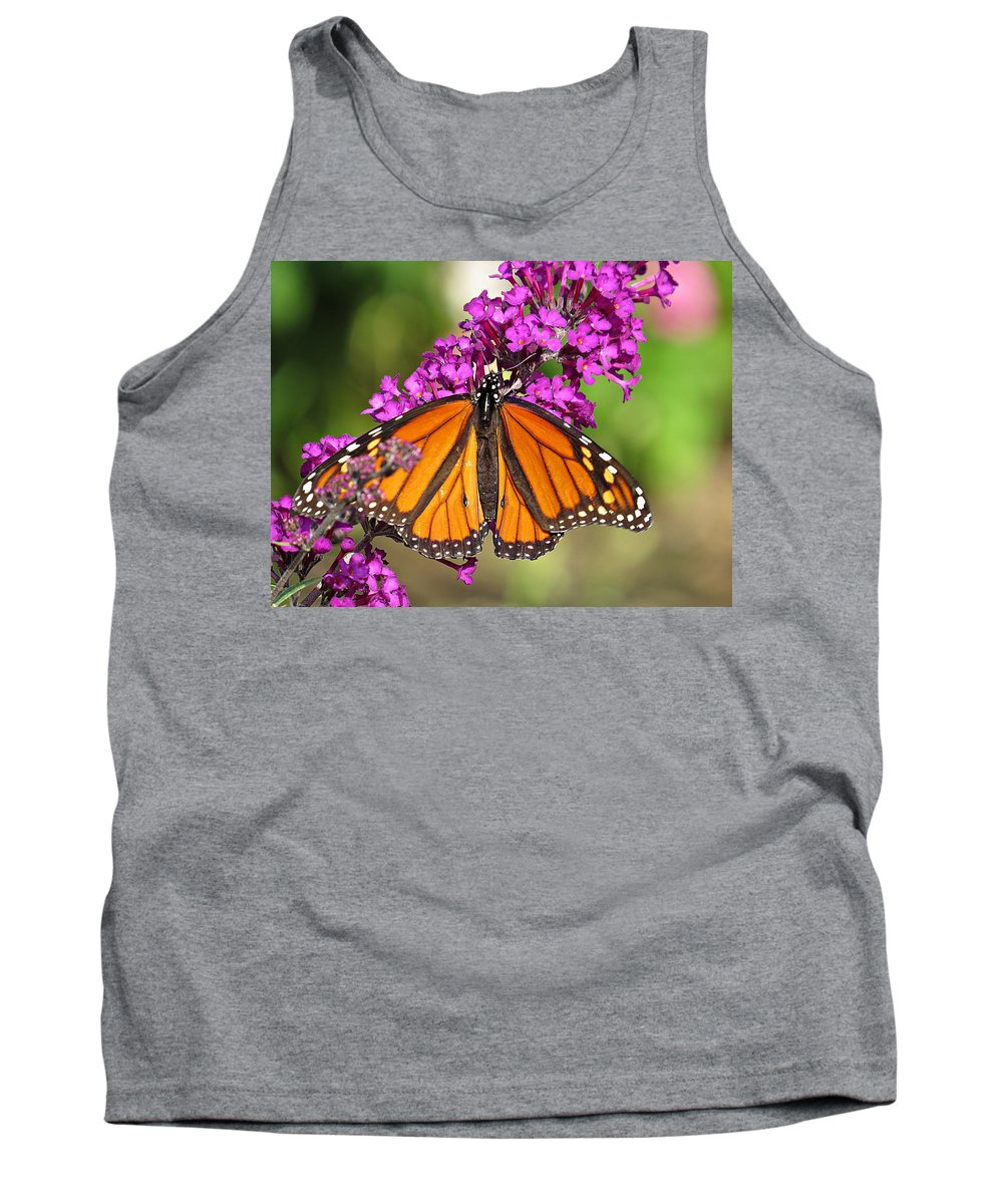Monarch Butterfly Tank Top featuring the photograph Monarch Hangs On To Buddleia by MTBobbins Photography
