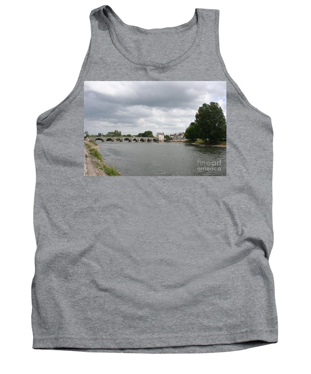 River Tank Top featuring the photograph Montrichard Bridge Over Cher River by Christiane Schulze Art And Photography