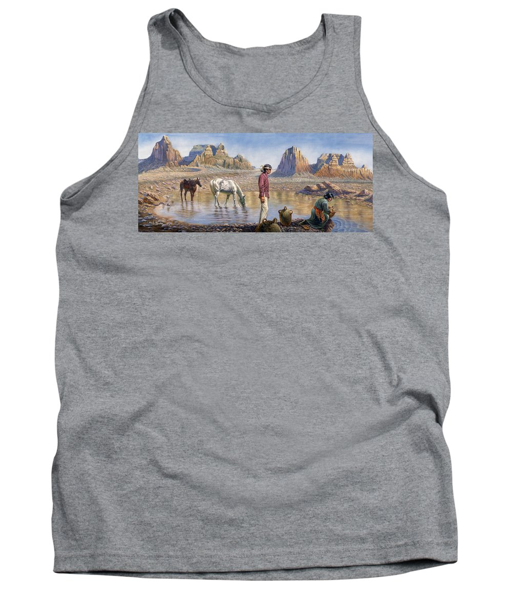 Gregory Perillo Tank Top featuring the painting Monument Valley by Gregory Perillo