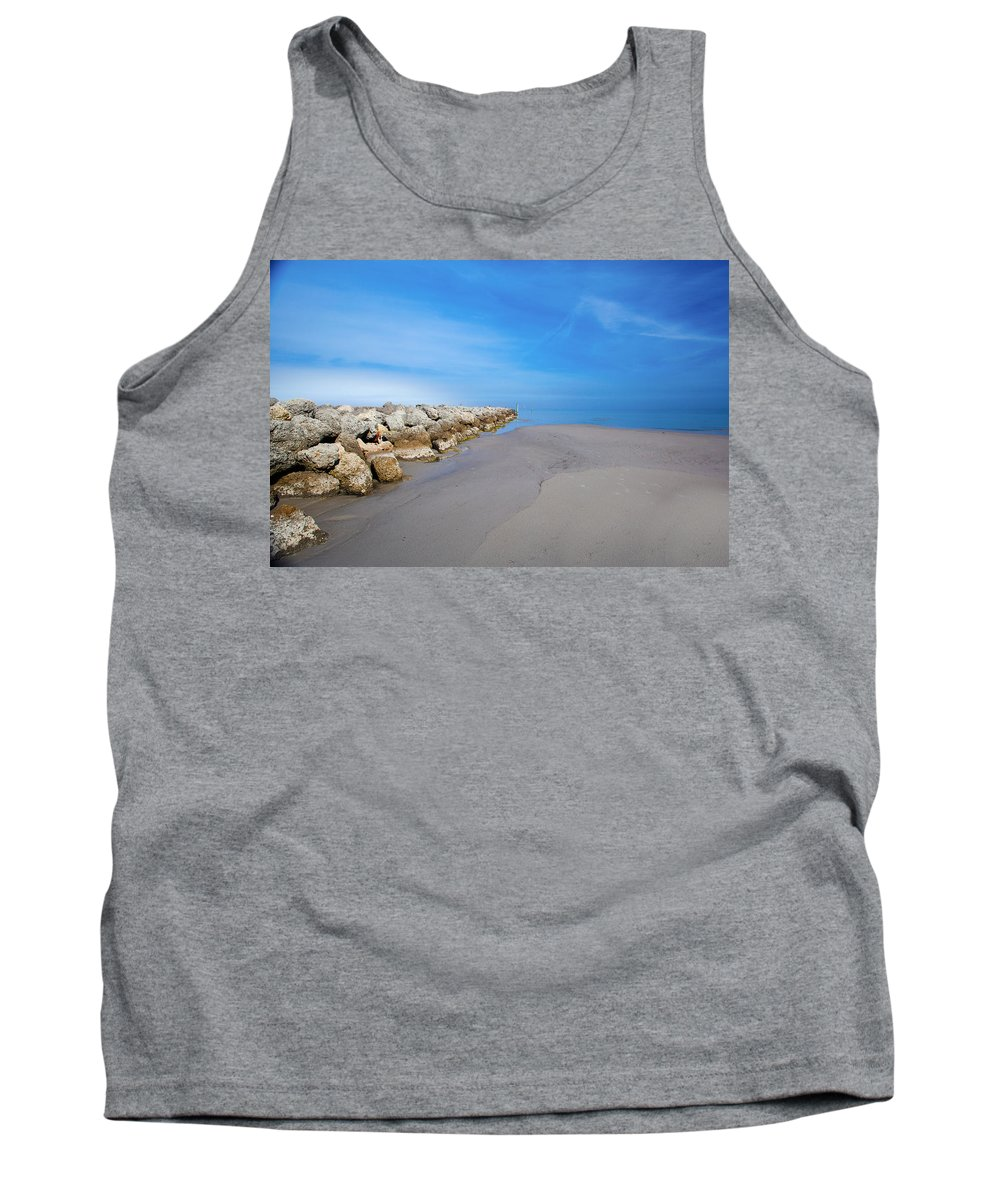 Morning Tank Top featuring the photograph Morning At The Jetty by Paula OMalley