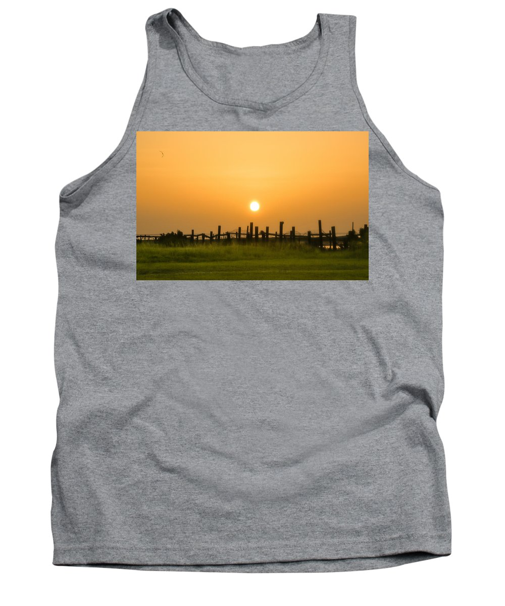 Cedar Island Tank Top featuring the photograph Morning Gold by Paula OMalley
