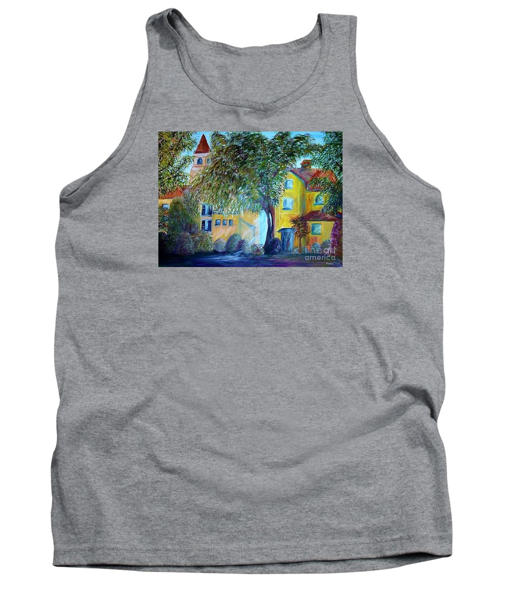 Tuscan Tank Top featuring the painting Morning In Tuscany by Eloise Schneider