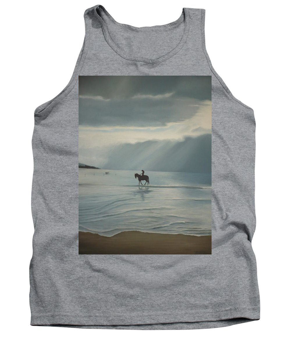 Horse Sea Sand Clouds Sun Beach Scene Tank Top featuring the painting Morning Ride by Caroline Philp