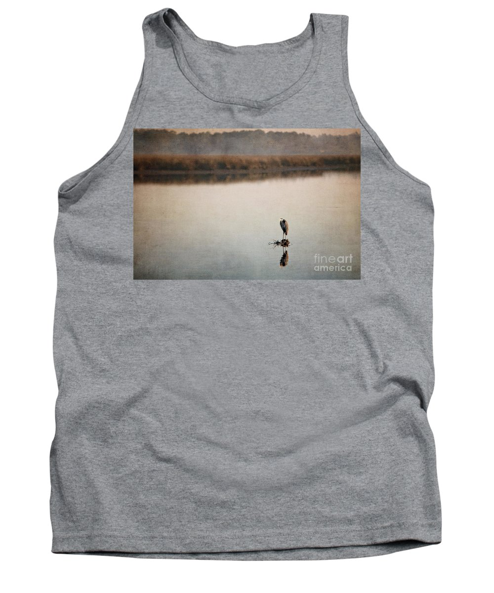 Birds Ocean Springs Mississippi Texture Tank Top featuring the photograph Morning Solitude by Joan McCool