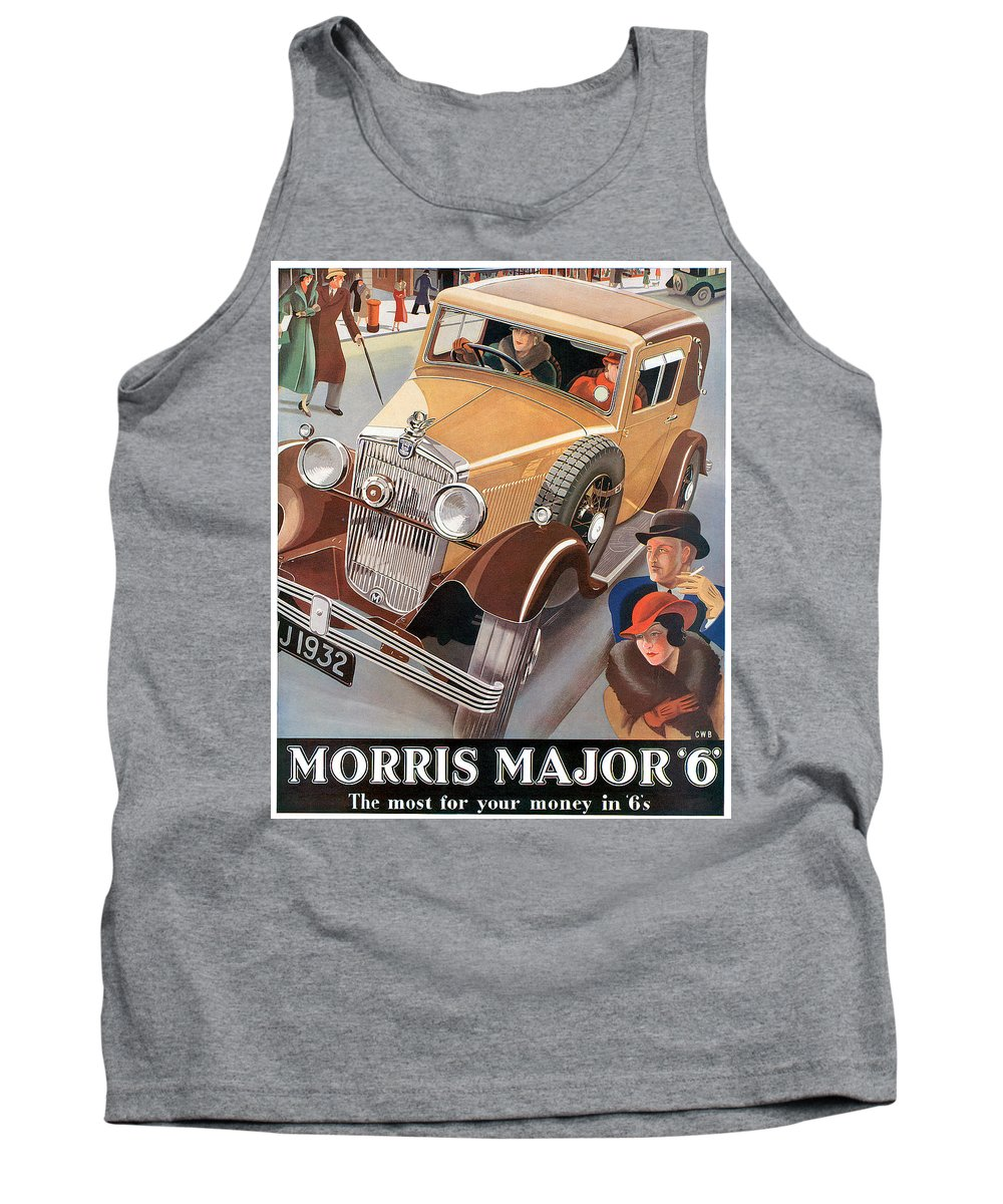 Advertisement Tank Top featuring the drawing Morris Major 6 - Vintage Car Poster by World Art Prints And Designs