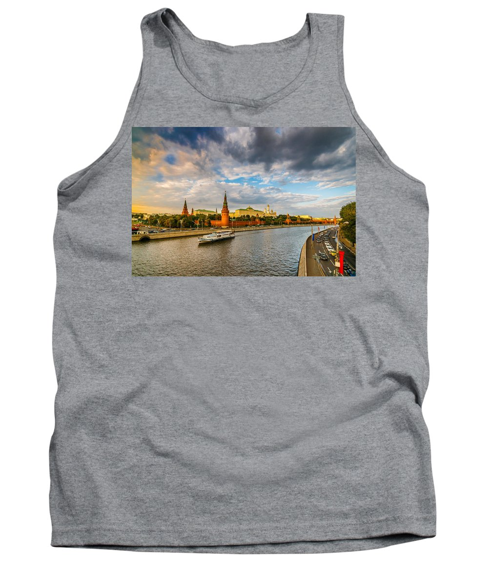 Moscow Tank Top featuring the photograph Moscow Kremlin At Sunset - 2 by Alexander Senin