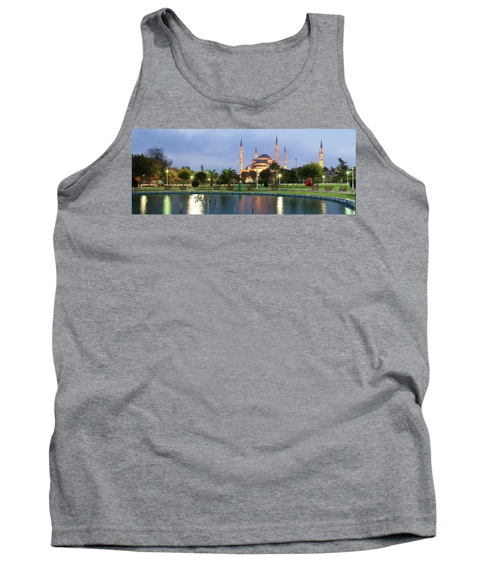 Photography Tank Top featuring the photograph Mosque Lit Up At Dusk, Blue Mosque by Panoramic Images