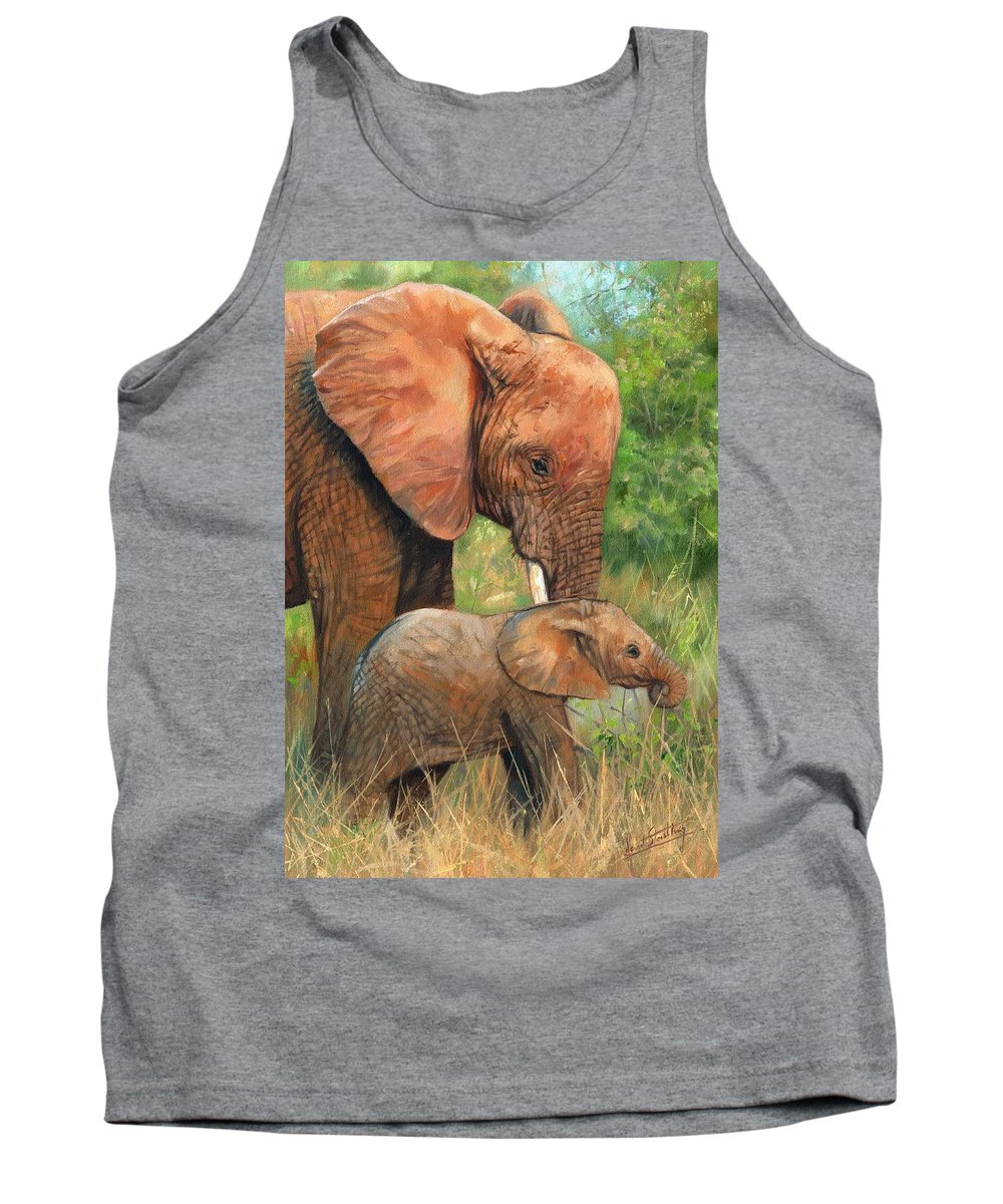 Elephant Tank Top featuring the painting Mother Love 2 by David Stribbling