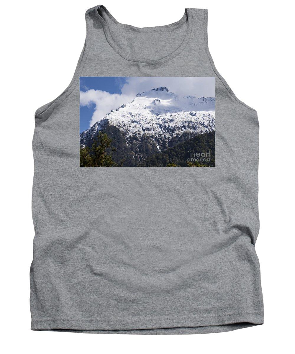 Mt. Aspiring National Park New Zealand Mountain Mountains Snow Landscape Landscapes Peak Peaks Snowscape Snowscapes Tank Top featuring the photograph Mountain Snow by Bob Phillips