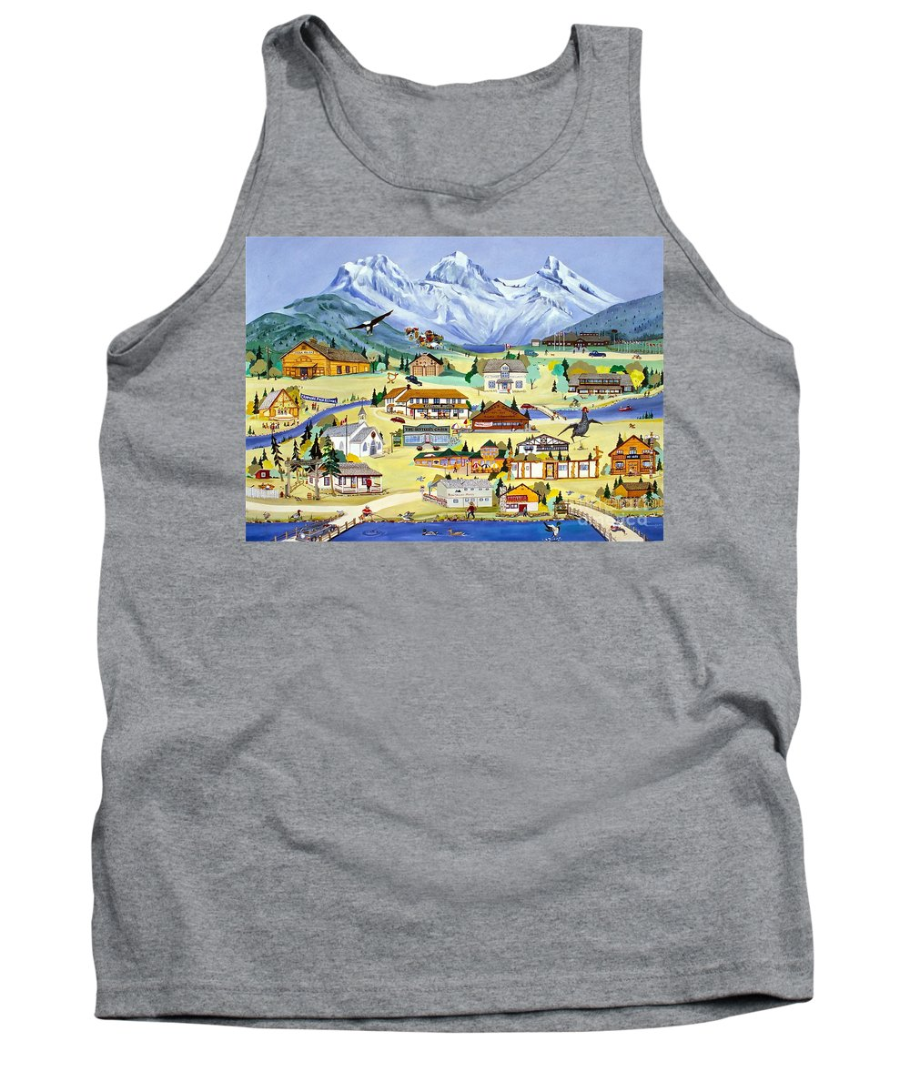 Canmore Tank Top featuring the painting Mountain Town Of Canmore by Virginia Ann Hemingson