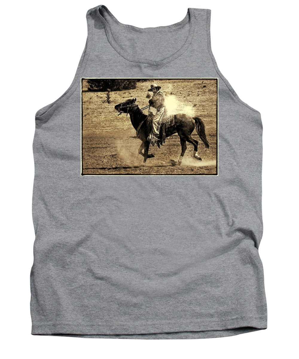 New Mexico Mounted Shooting Championship Match Tank Top featuring the photograph Mounted Shooting by Priscilla Burgers