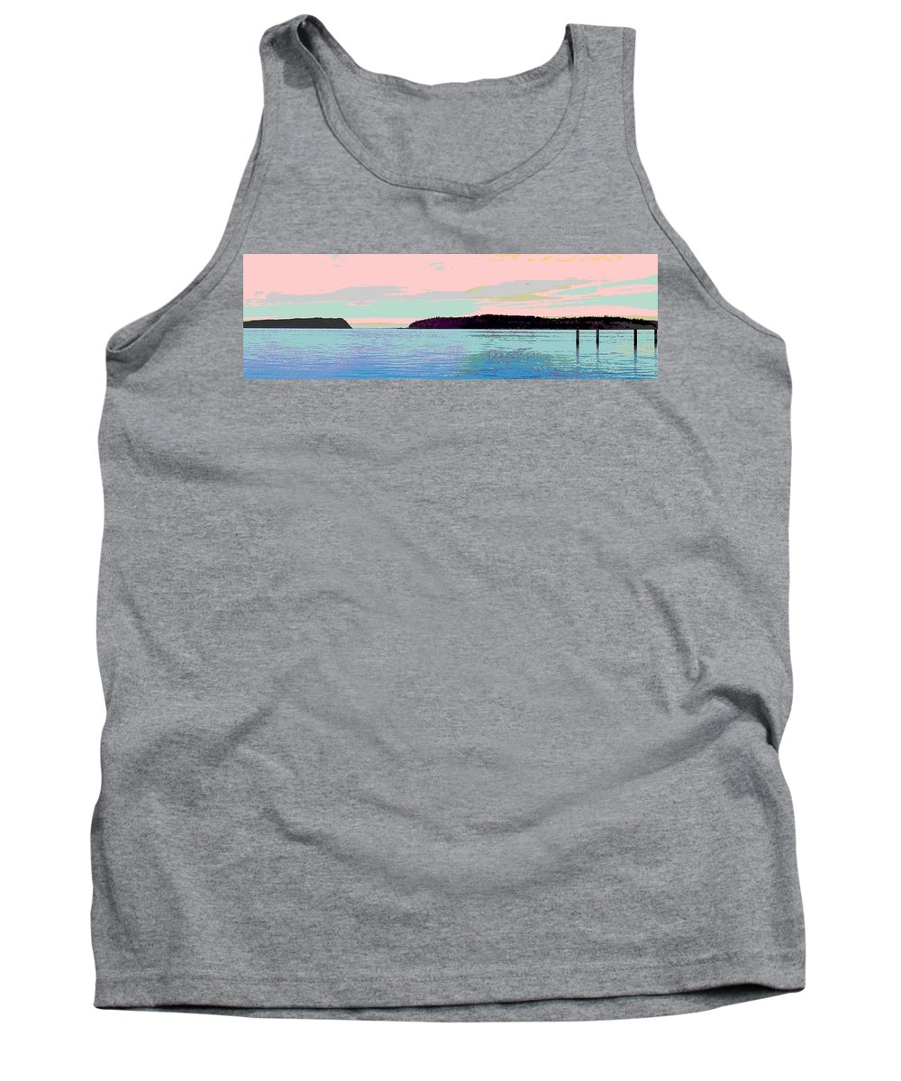 Abstract Tank Top featuring the digital art Mukilteo Clinton Ferry Panel 2 Of 3 by James Kramer