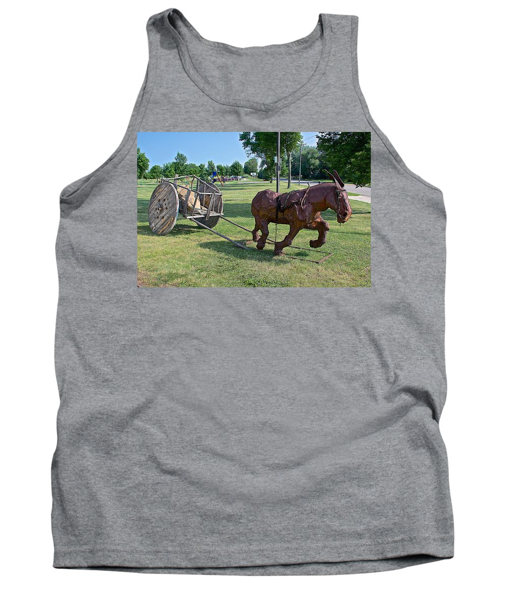 Mule And Wagon Sculpture By Former Rock Island Line Railroad Depot In Pipestone Tank Top featuring the photograph Mule And Wagon Sculpture In Front Of Former Railroad Depot In Pipestone-minnesota by Ruth Hager