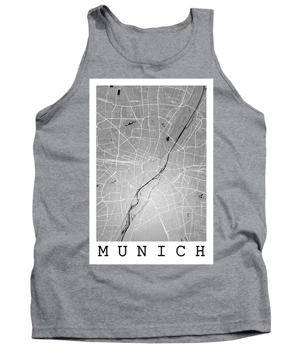 Road Map Tank Top featuring the digital art Munich Street Map - Munich Germany Road Map Art On Colored Backg by Jurq Studio