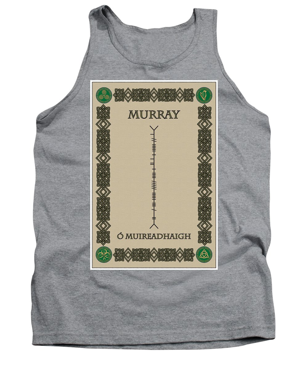 Murray Tank Top featuring the digital art Murray Written In Ogham by Ireland Calling