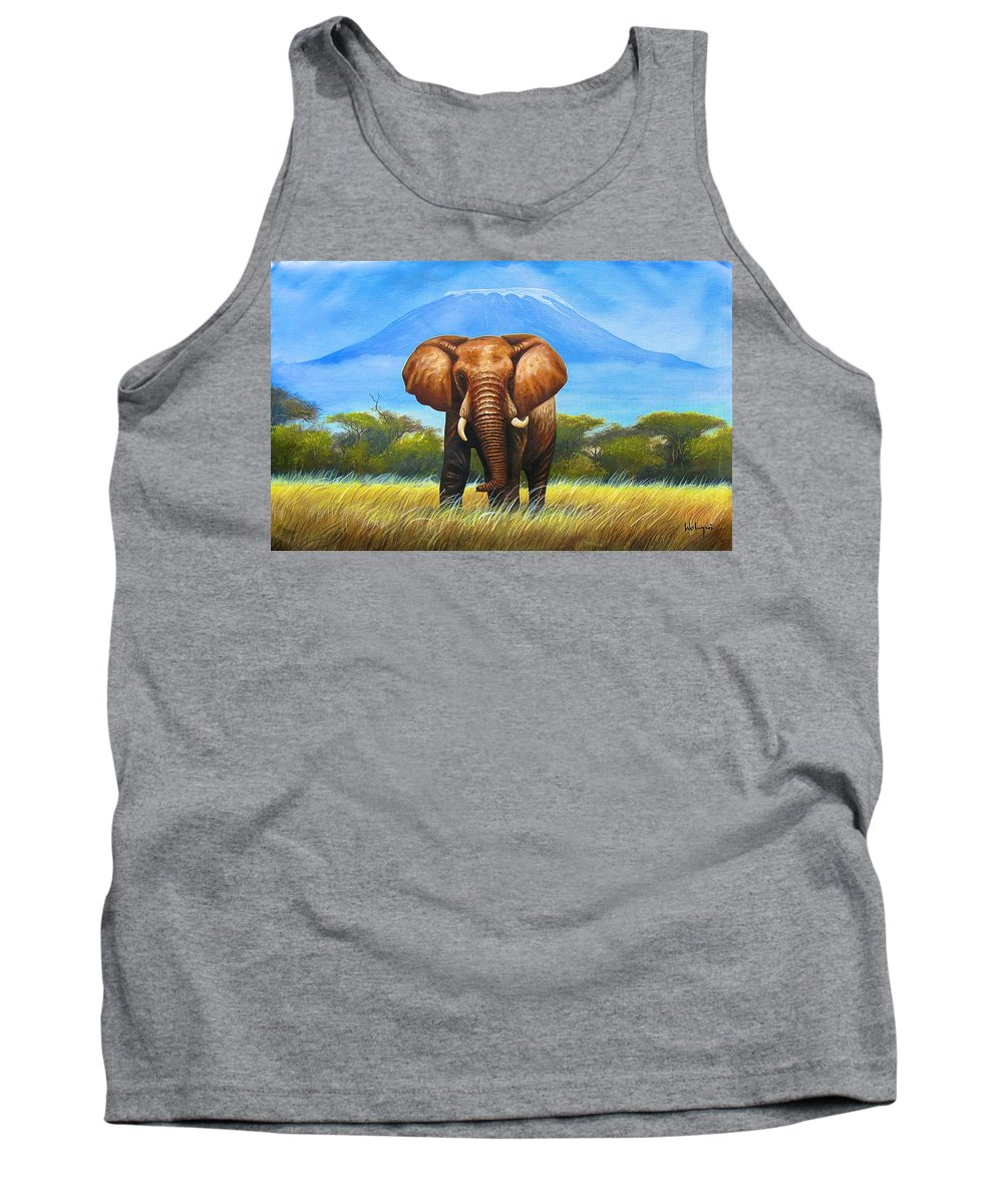 African Paintings Tank Top featuring the painting My Mountain by Chagwi