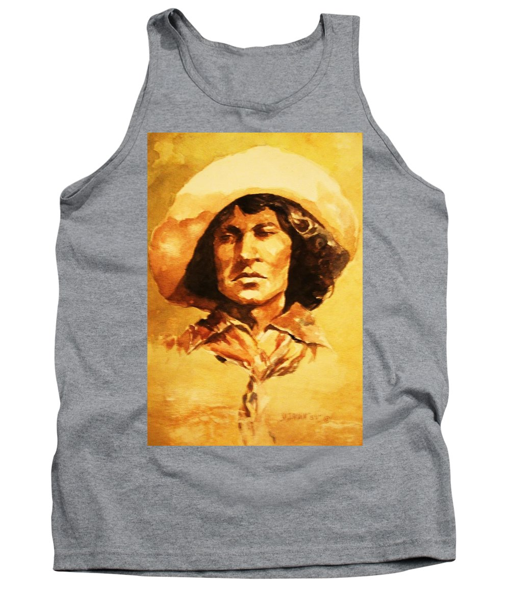 Historical Cowboy Tank Top featuring the painting Nat Love Bronc Buster by Al Brown