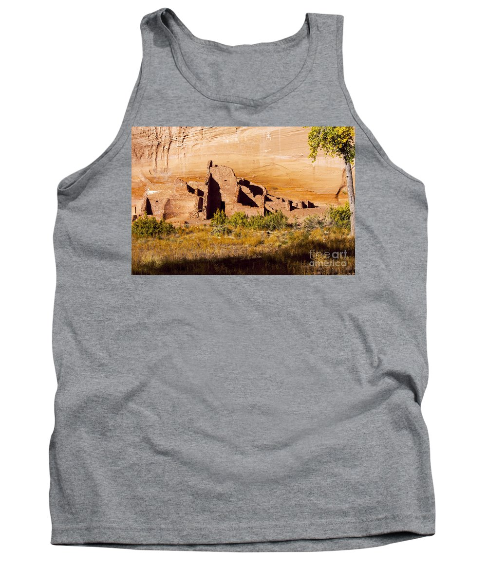 White House Ruins Trail Canyon De Chelly National Monument Arizona Trails Canyons Park Parks Cliff Cliffs Tree Trees Houses Indian Dwelling Dwellings Ruin Ruins Monument Monuments Landscape Landscapes Landmark Landmarks Tank Top featuring the photograph Navajo Ruins by Bob Phillips
