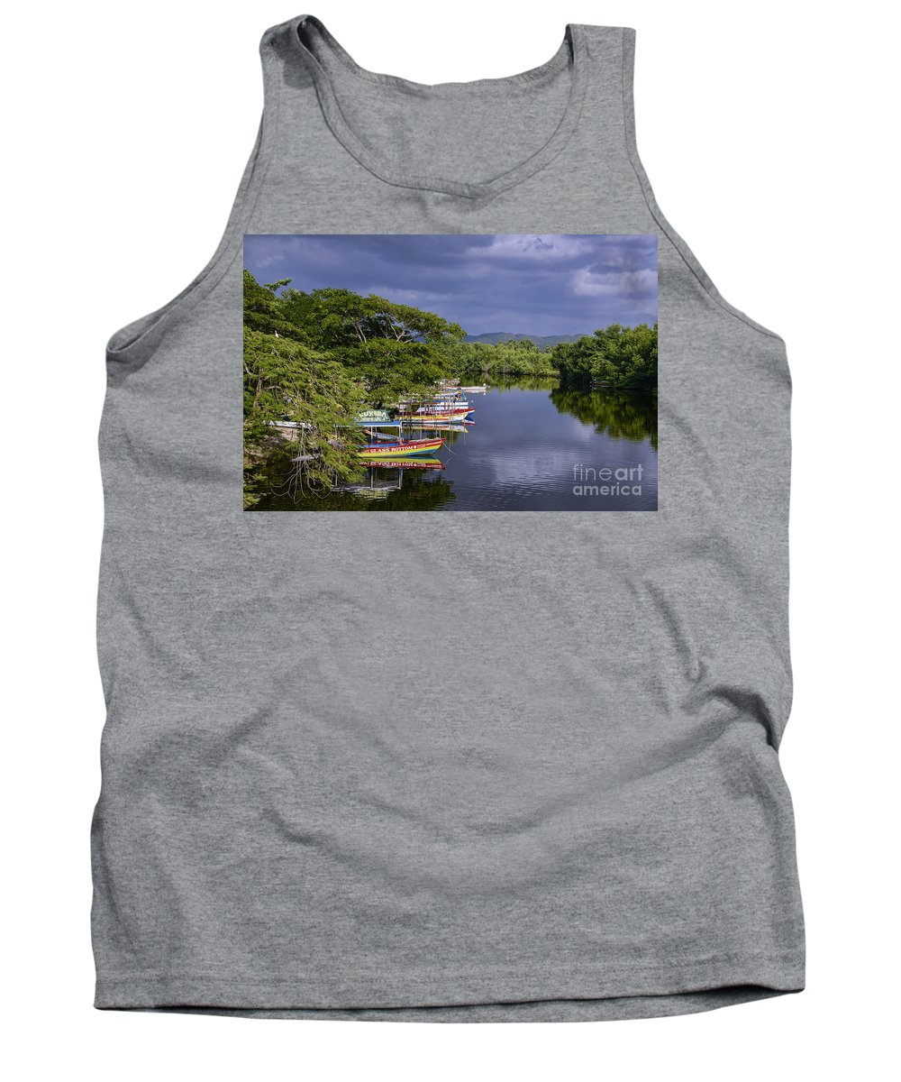 Excursion Boats Docked On The South Negril River Tank Top featuring the photograph Negril River by John Greim