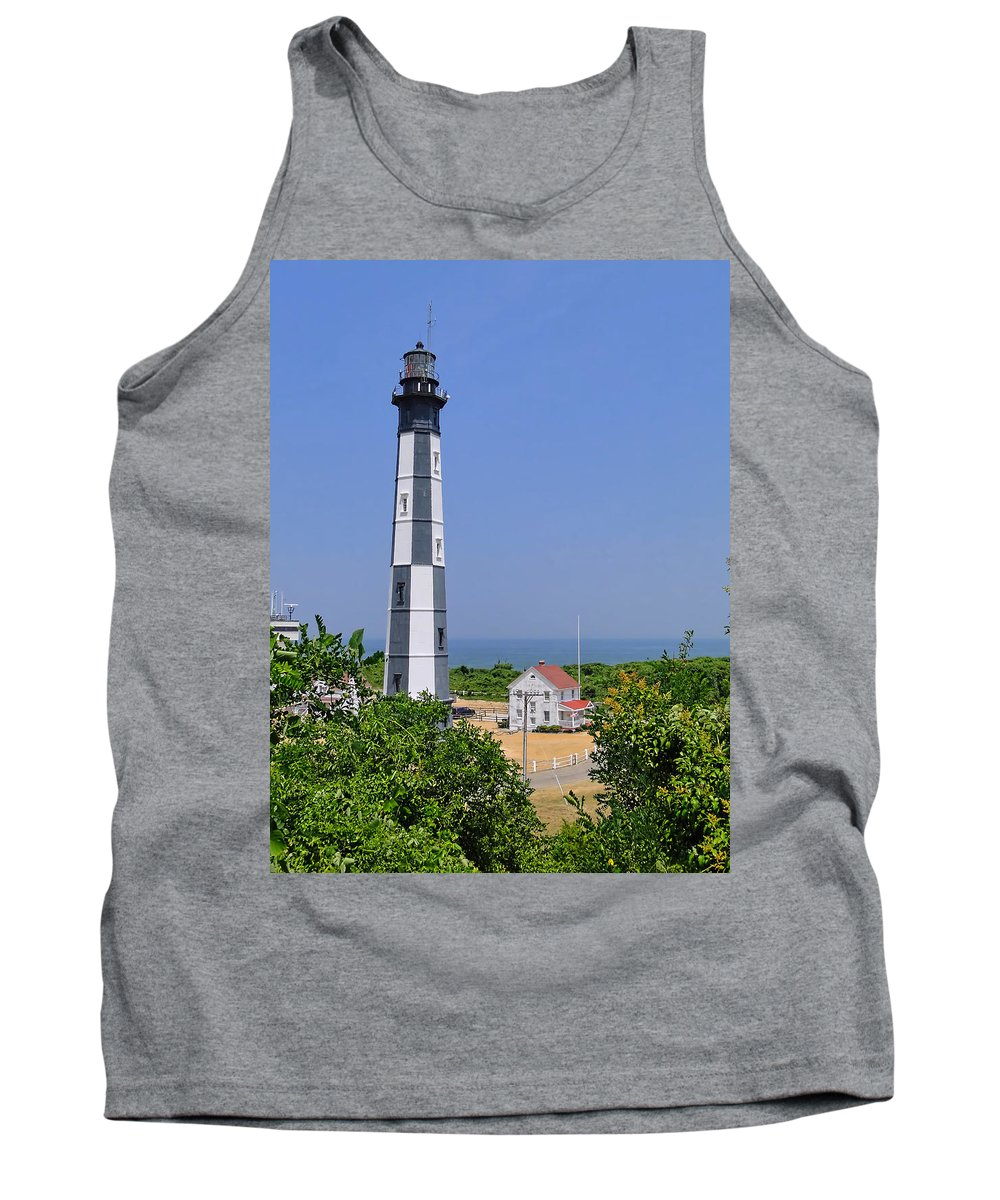 Lighthouse Tank Top featuring the photograph New Cape Henry Lighthouse Vertical by Alan Hutchins