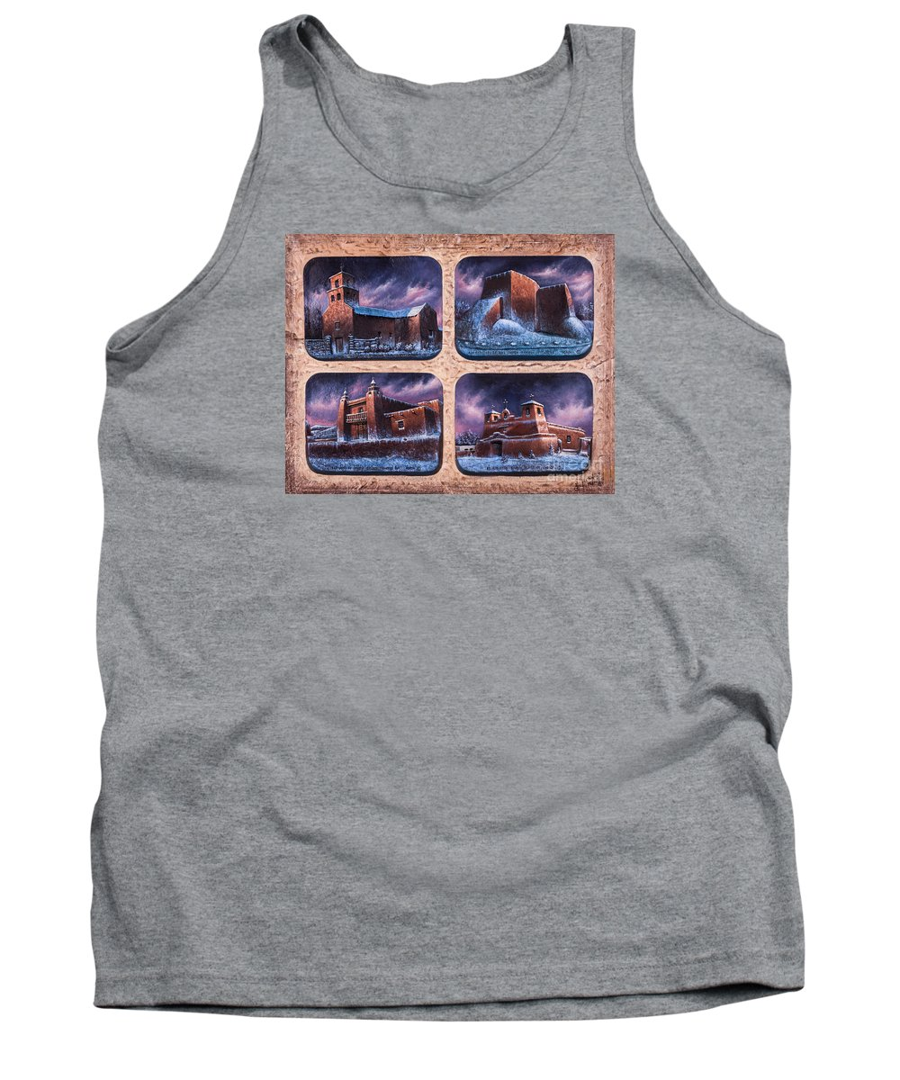 Churches Tank Top featuring the mixed media New Mexico Churches In Snow by Ricardo Chavez-Mendez