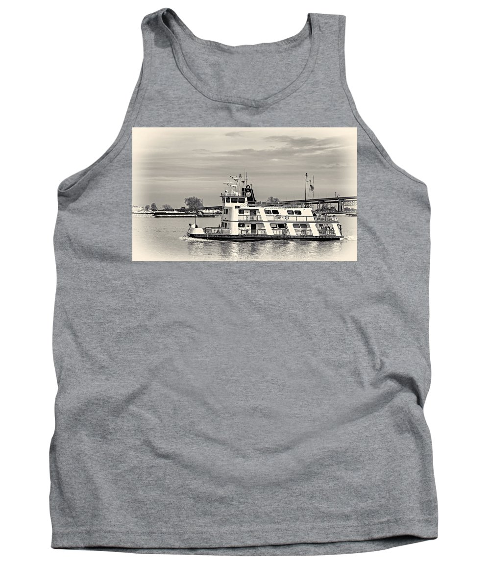 Mississippi Tank Top featuring the photograph New Orleans Ferry Bw by Steve Harrington