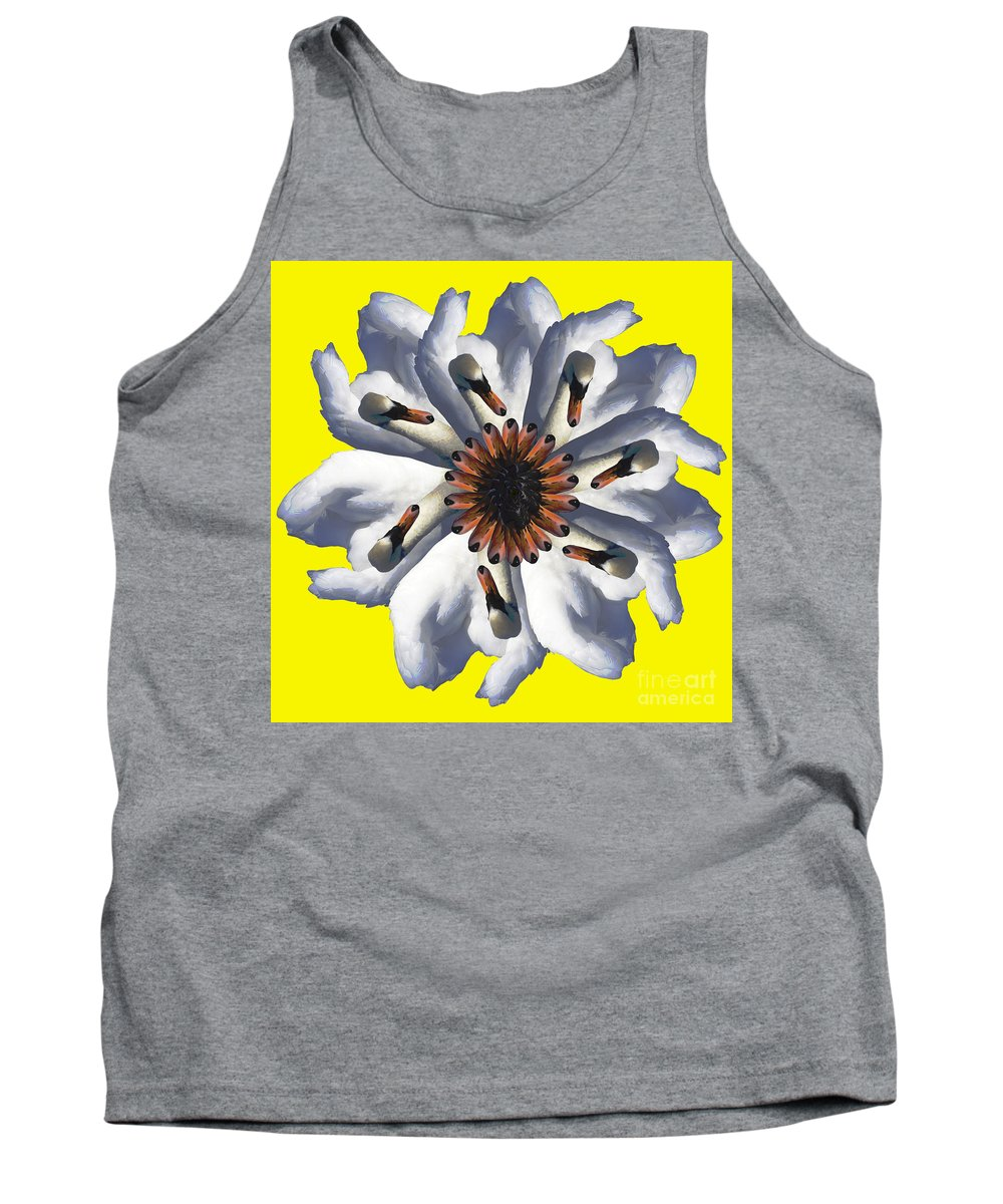Bird Tank Top featuring the photograph New Photographic Art Print For Sale Pop Art Swan Flower On Yellow by Toula Mavridou-Messer
