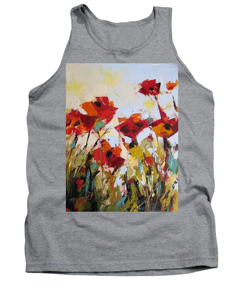 Wild Flowers Tank Top featuring the painting New Poppies by Yvonne Ankerman