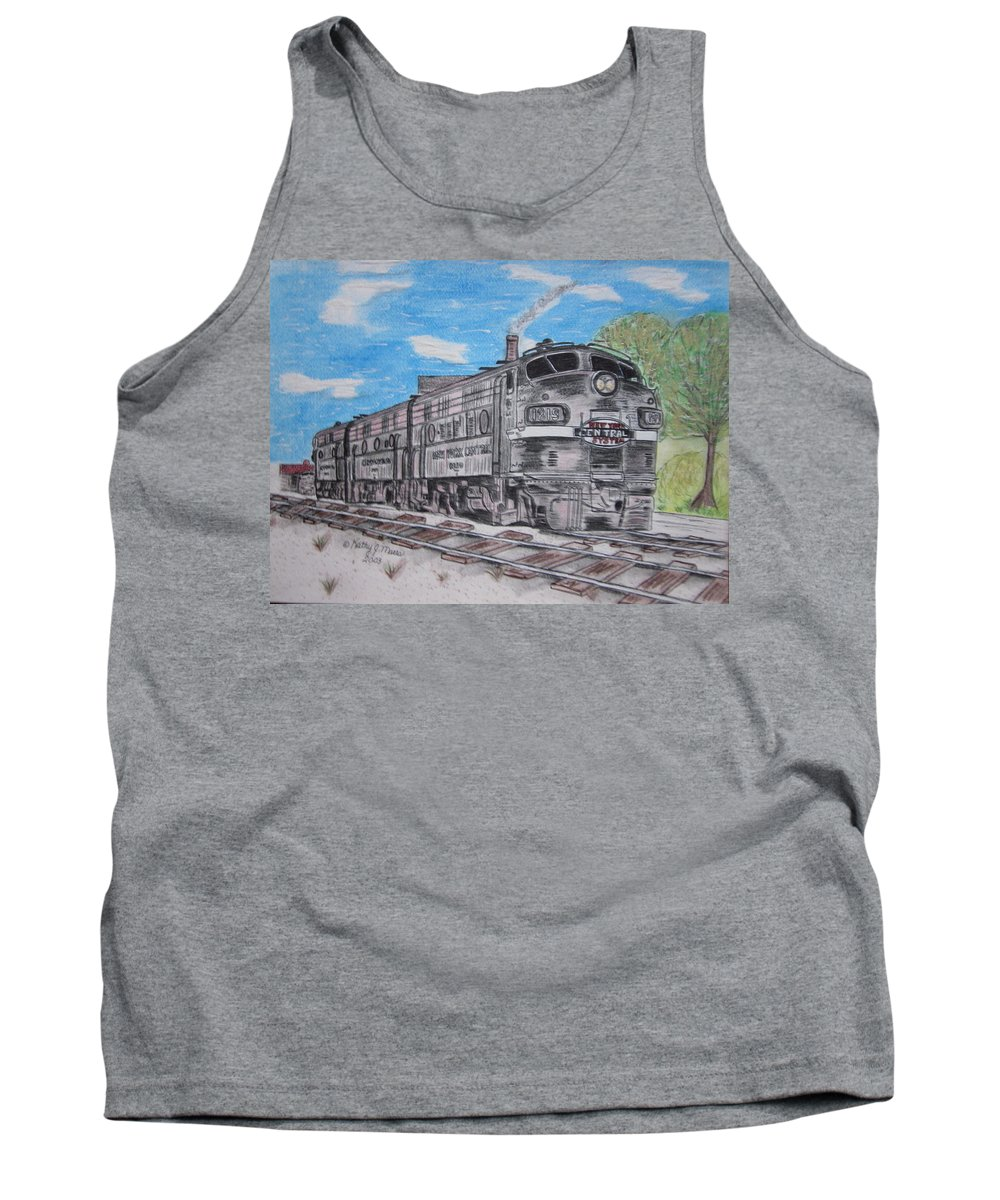 New York Tank Top featuring the painting New York Central Train by Kathy Marrs Chandler