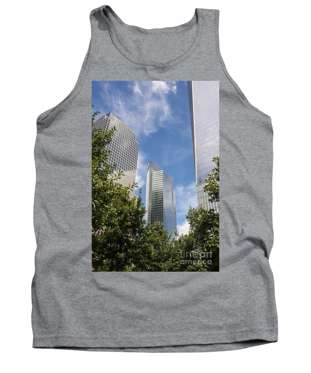 New York City Cityscape Cityscapes Building Buildings Architecture Cities Structure Structures Skyscraper Skyscrapers Line Lines Window Windows Cloud Clouds Tank Top featuring the photograph New York City Skyscrapers by Bob Phillips