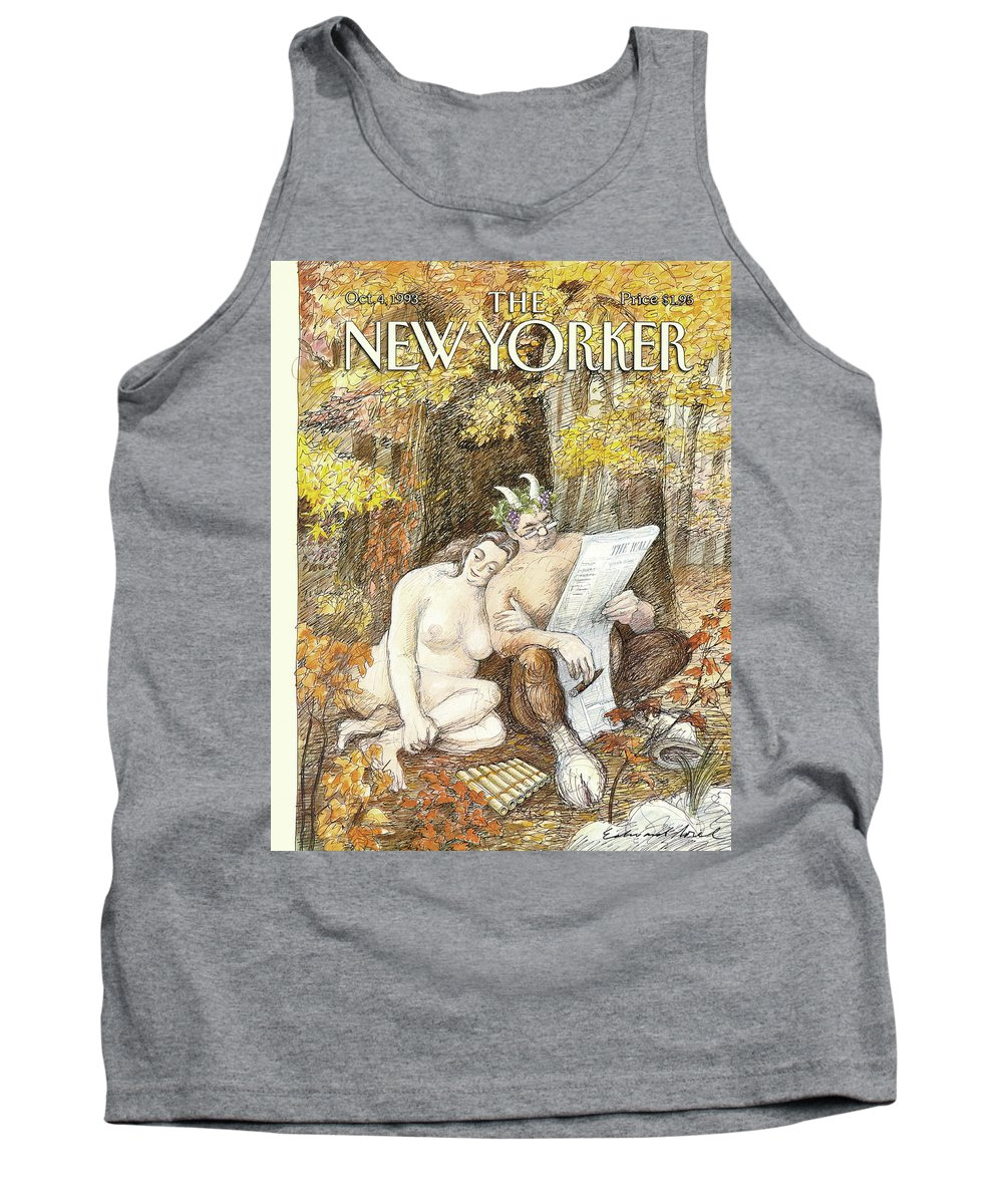 Remembrance Of Flings Past Artkey 50734 Eso Edward Sorel Tank Top featuring the painting New Yorker October 4th, 1993 by Edward Sorel