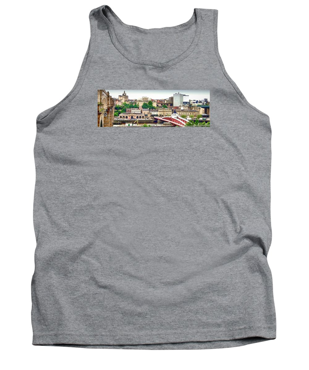 Bewcastle Tank Top featuring the digital art Newcastle Upon Tyne Quayside by John Lynch