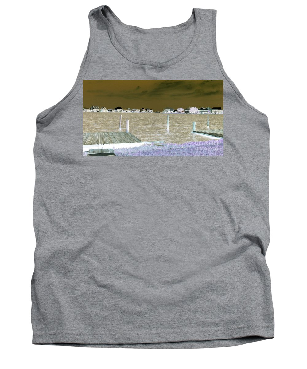 Lafitte Bay Tank Top featuring the photograph Night View Of Lafitte Bay Dauphin Island Alabama by Marian Bell