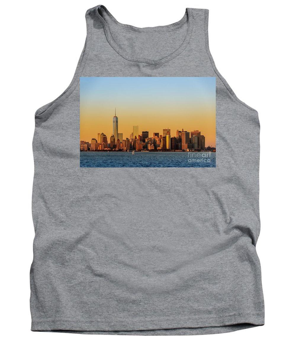 Freedom Tank Top featuring the photograph Ny Skyline At Sunset by Glenn Brogan