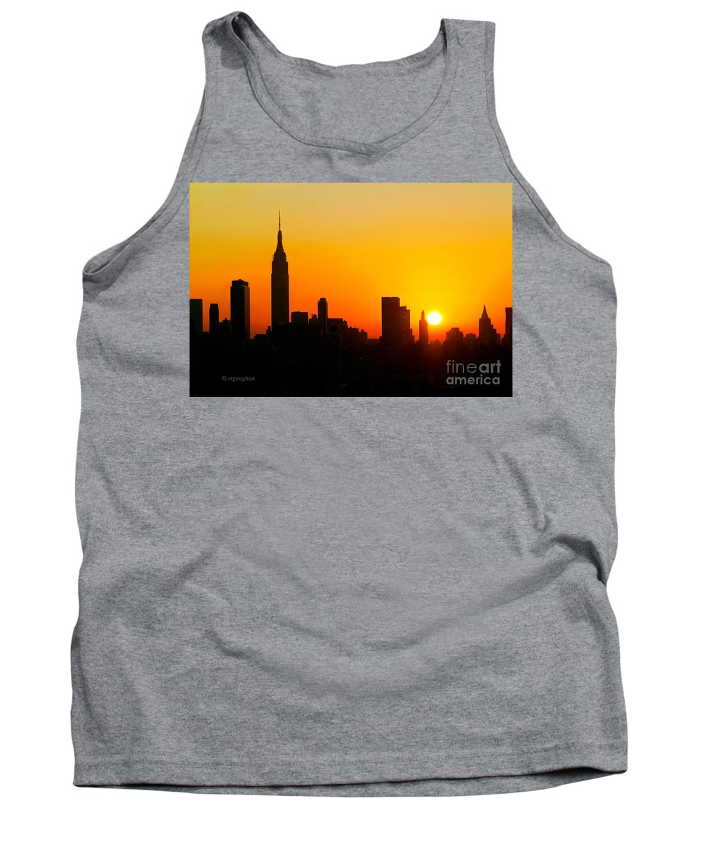 New York Skyline Sunrise Tank Top featuring the photograph Ny Sunrise For Thanksgiving by Regina Geoghan
