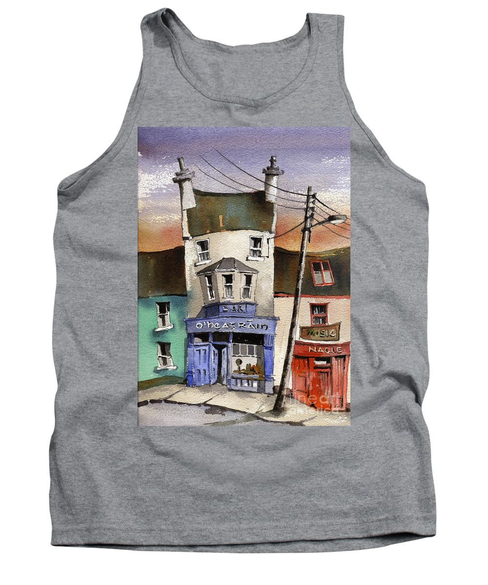 Val Byrne Tank Top featuring the painting O Heagrain Pub Viewed 115737 Times by Val Byrne