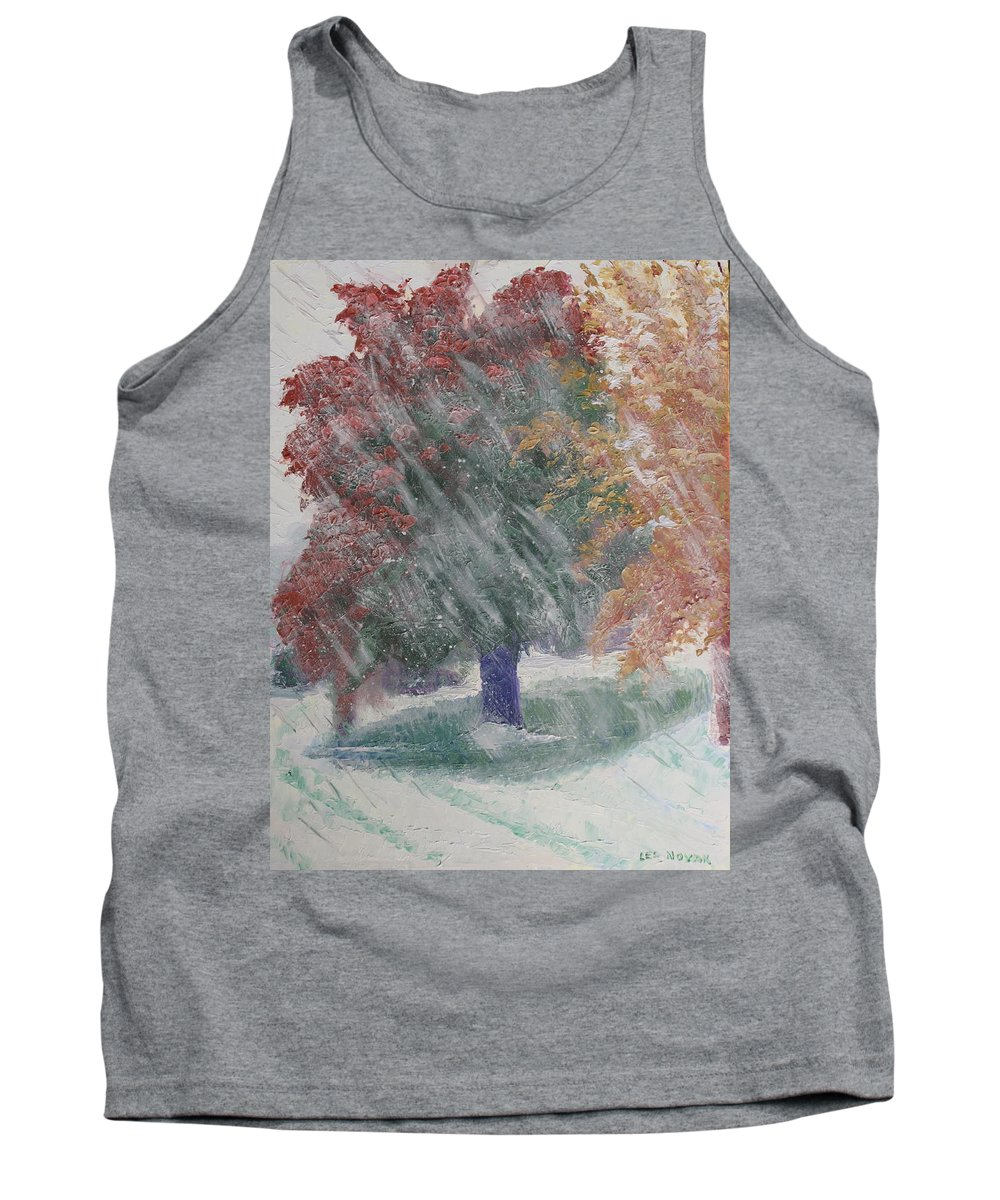 Landscape Tank Top featuring the painting October Snow by Lea Novak
