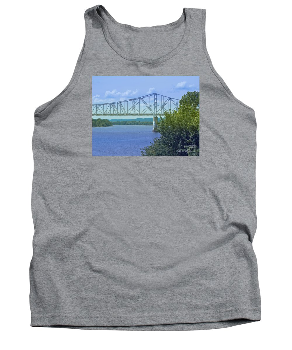 Bridge Tank Top featuring the photograph Ohio River Crossing by Ann Horn