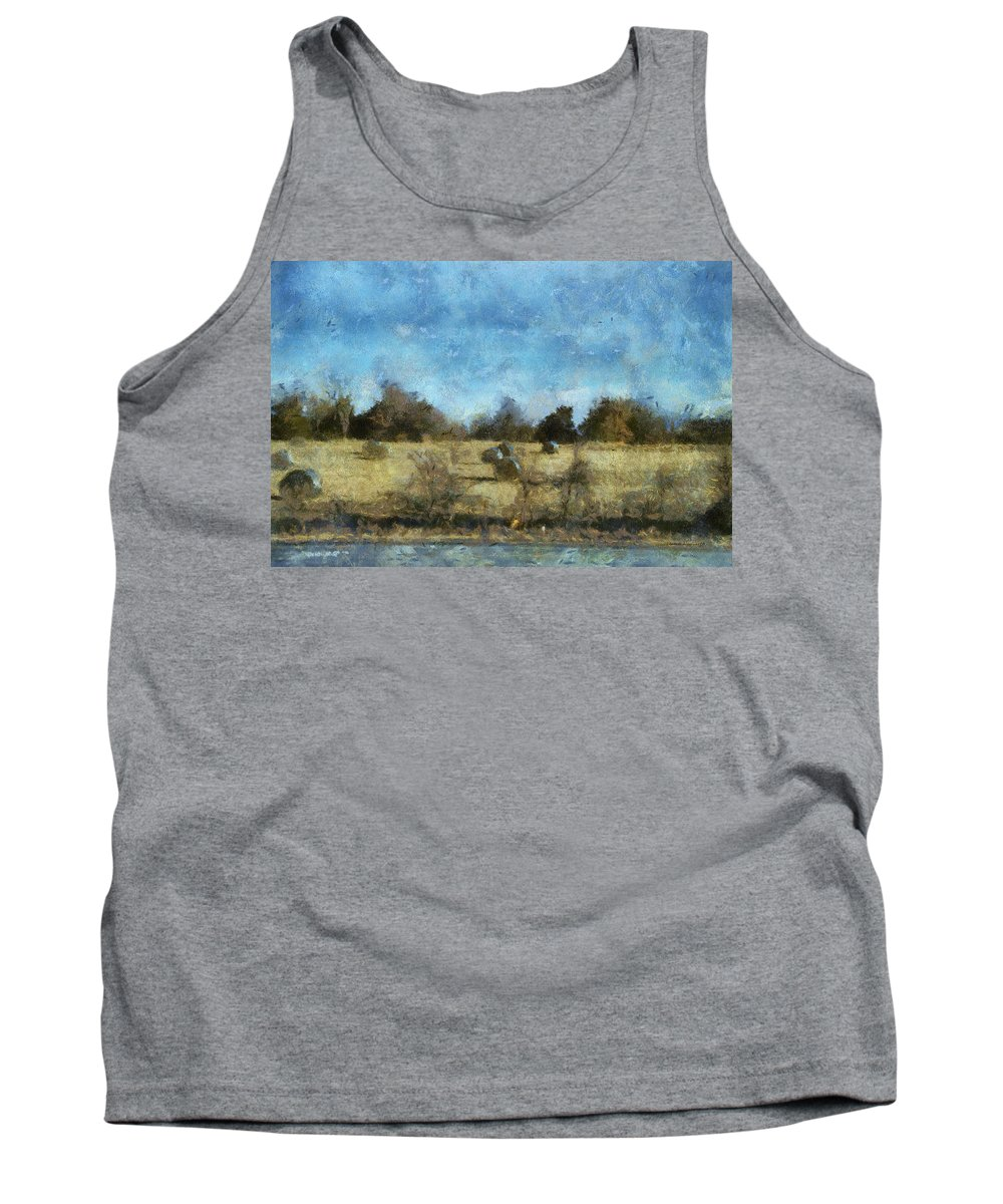 Hay Tank Top featuring the photograph Oklahoma Hay Rolls Photo Art 02 by Thomas Woolworth