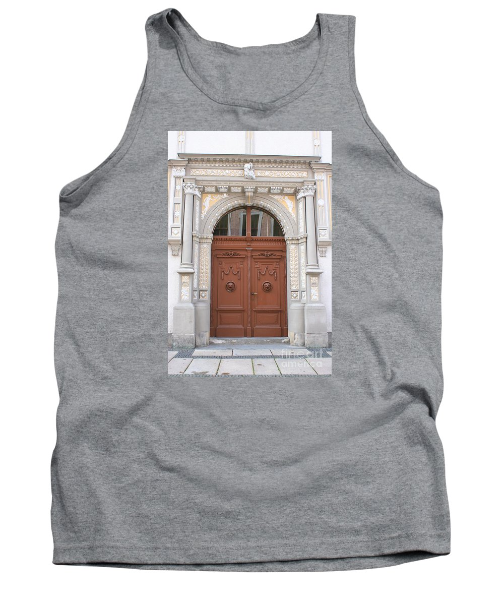 Door Tank Top featuring the photograph Old Entrance Door With Lionheads by Christiane Schulze Art And Photography