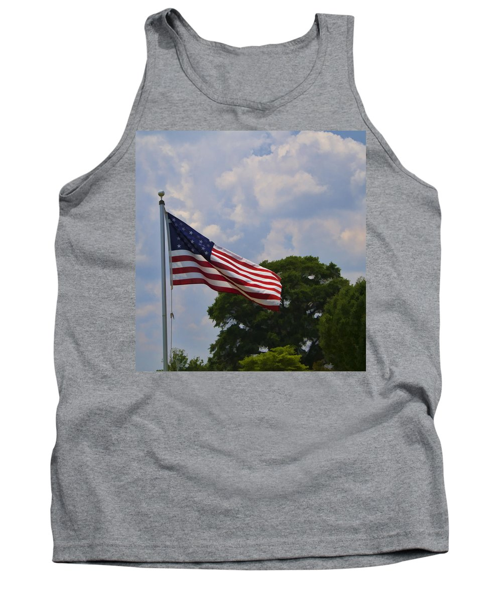 American Flag Tank Top featuring the photograph Old Glory by Kathy Clark