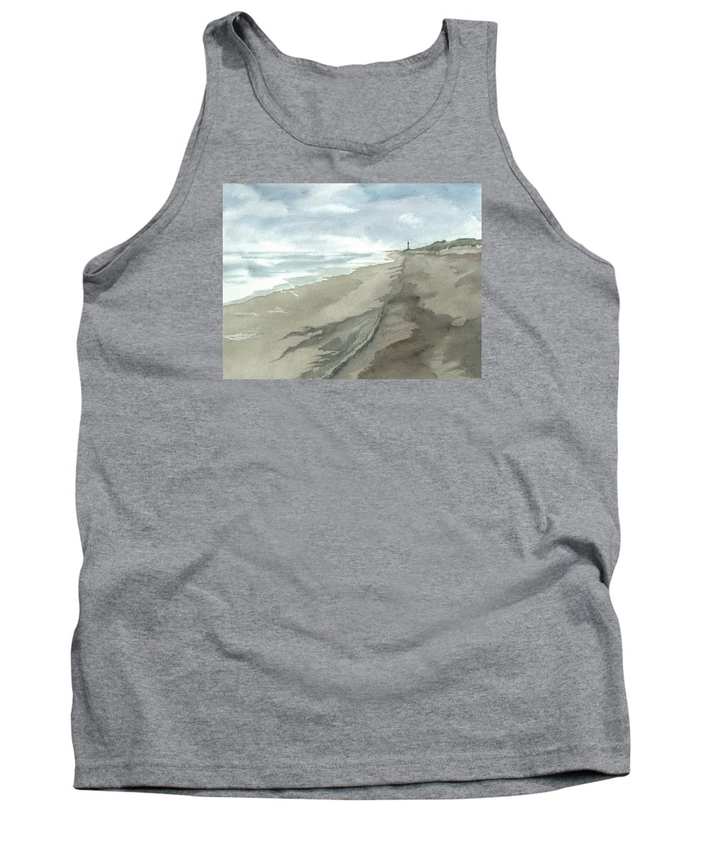 Obx Tank Top featuring the painting Old Hatteras Light by Joel Deutsch