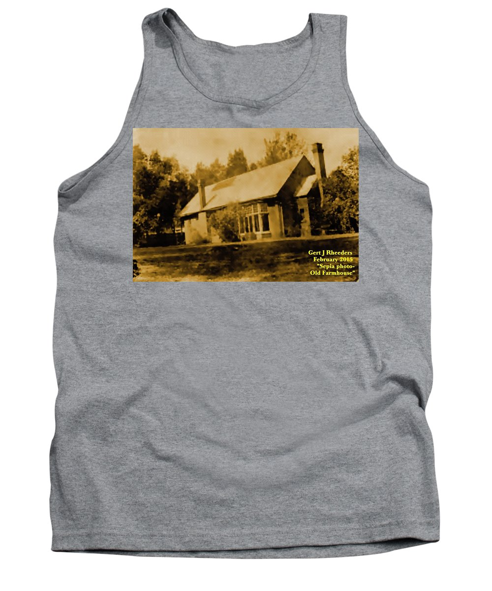 Announcement Tank Top featuring the painting Old Sepia Photo Old Farmhouse H A by Gert J Rheeders