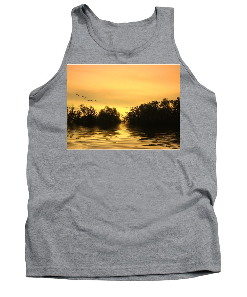 Sunset Tank Top featuring the photograph On Golden Pond by Joyce Dickens