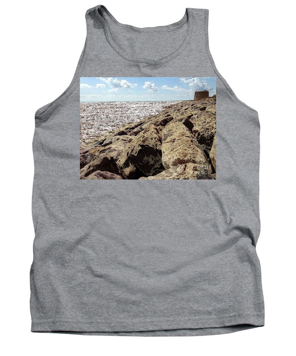 Martello Tower Tank Top featuring the digital art On The Rocks by Chris R Kitchener
