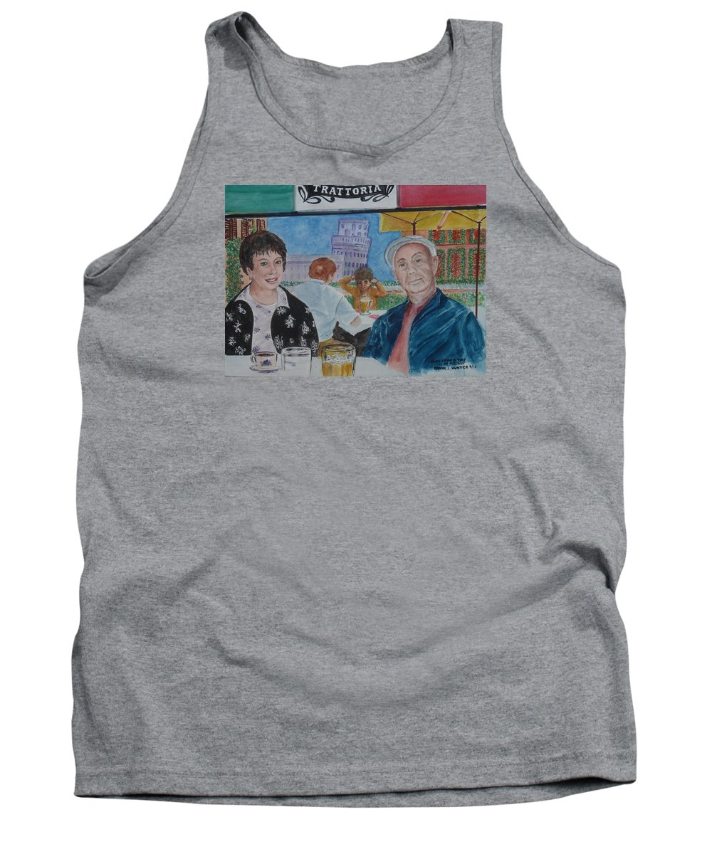 Leaning Tower Of Pisa Frank Self Portrait Joy Honeymoon Tank Top featuring the painting Joy And Frank Once Upon A Time In Tuscany by Frank Hunter